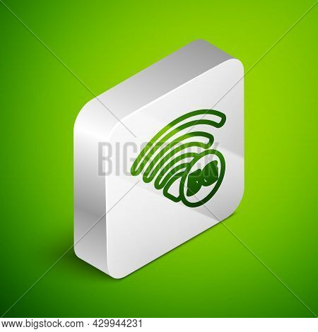 Isometric Line 5g New Wireless Internet Wifi Connection Icon Isolated On Green Background. Global Ne