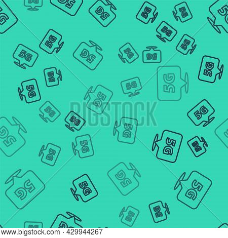 Black Line Location 5g New Wireless Internet Wifi Connection Icon Isolated Seamless Pattern On Green