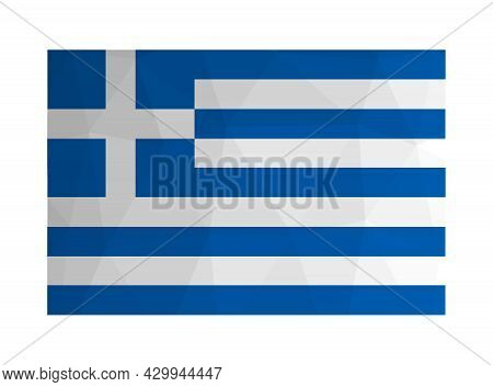 Vector Isolated Illustration. National Greek Flag Blue And White . Official Symbol Of Greece, Hellen