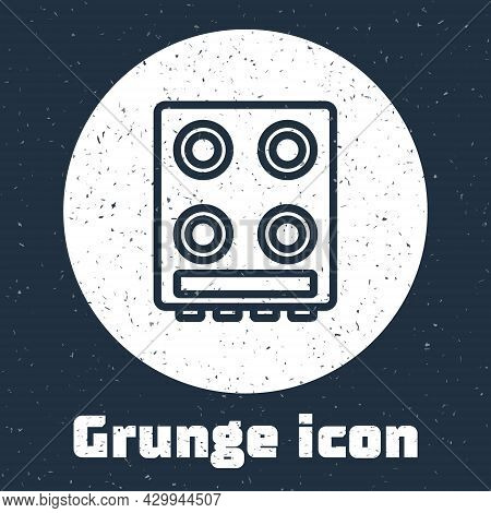 Grunge Line Gas Stove Icon Isolated On Grey Background. Cooktop Sign. Hob With Four Circle Burners.