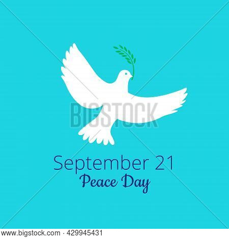 Dove, Pigeon With Olive Branch Logo With Label September 21 Peace Day. International Day Of Peace, T