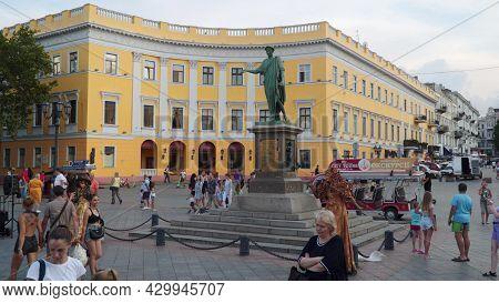 Odessa, Ukraine - July 10, 2021: Monument Of Duke Armand Emmanuel Richelieu. The First Monument Erec