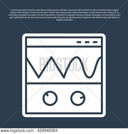 Blue Line Oscilloscope Measurement Signal Wave Icon Isolated On Blue Background. Vector