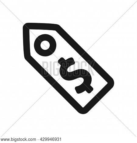 Price Tag Vector Icon. Price Tag Line Icon.