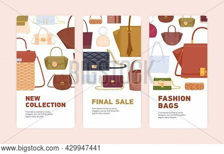 Set Of Flyer Template Designs With Bag Sale Promotion. Advertising Banner With Discount Offer. Verti