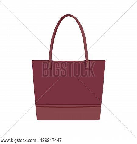 Leather Shopper Or Tote Bag With Handles. Fashion Women Handheld Rectangular Handbag. Modern Female