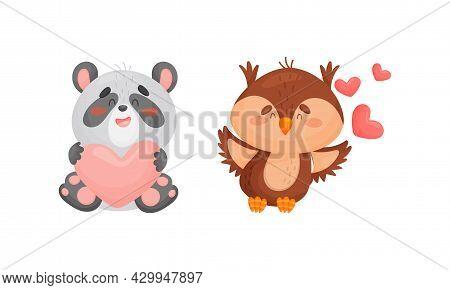 Adorable Baby Animals With Pink Hearts Set. Lovely Happy Panda, Bear, Bird Holding Heart Cartoon Vec