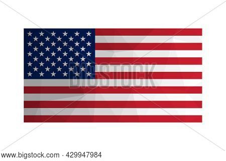 Vector Isolated Illustration. National American Us Flag With Stars And Stripes. Official Symbol Of U