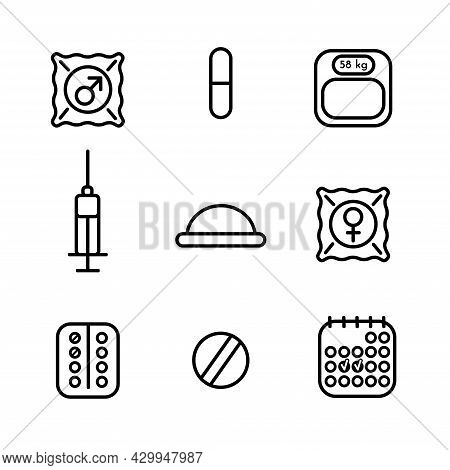Vector Isolated Set Of Medicine Icons About Contraceptive Methods Oral Pills, Diaphragm, Male And Fe