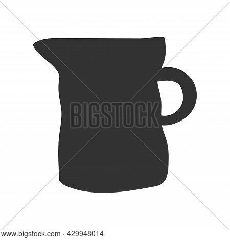 Vector Isolated Dark Grey Illustration Of Handmade Ceramic Milk Jug. Hand Drawn Craft Earthenware Ma