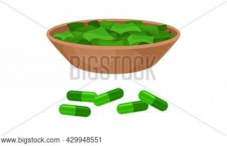 Spirulina Plant Organic Products, Dietary Supplement. Organic Product In Pills Vector Illustration