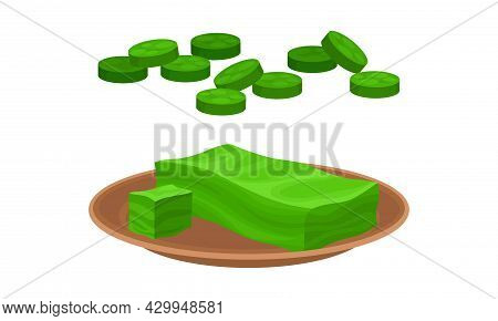 Spirulina Dietary Supplement. Healthy Organic Product In Tablets Vector Illustration