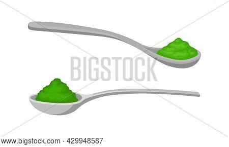 Spirulina Dietary Supplement. Powder Of Organic Product In Spoon Vector Illustration