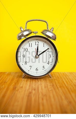 Retro Alarm Clock On Bright Yellow Background. Time Concept, Optimization Of Work