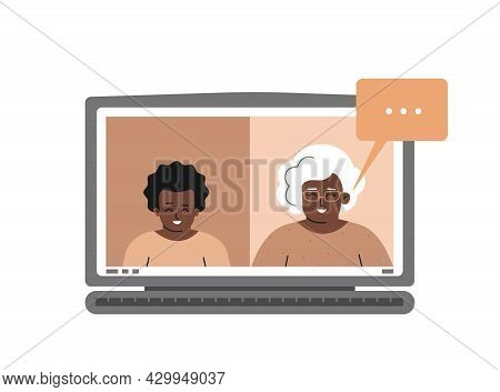 Vector Concept. Monitor Of Laptop With African American Boy And Elderly Teacher. Online Distant Educ