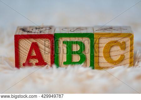 Abc Wooden Block In A Row