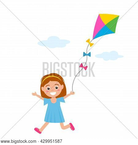 Happy Little Girl In A Dress Runs And Plays With A Kite. Vector Illustration Isolated On White Backg