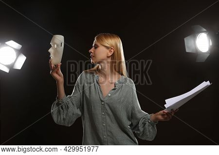Professional Actress Rehearsing On Stage In Theatre