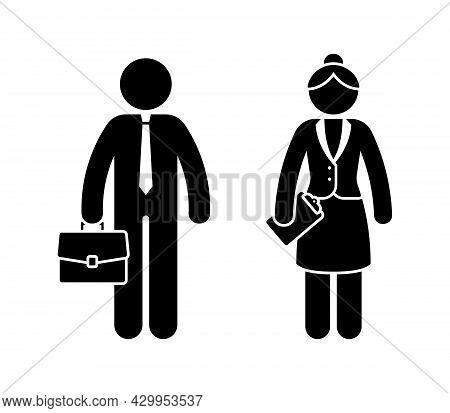 Business Man And Woman Stick Figures Wearing Tie And Suit, Standing Front View Vector Icon Set. Offi