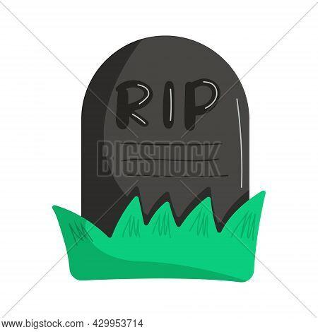 Gravestone In Grass In Flat Style. Halloween Element