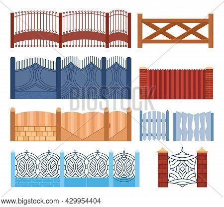 Gate Fence Set In Different Design Wooden, Metal, Stone Barriers. Illustration Of Decorative Barrier