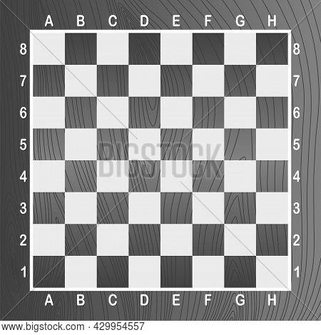 Gray Empty Chess Board. Concept Of Graphic Vector Illustration. Art Design Checkered, Checkerboard O