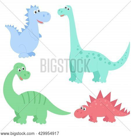 Dinosaurs Set Vector Illustration. Wild Extinct Animals Of The Jurassic Period. Characters For The D