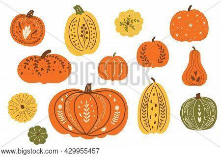 Thanksgiving Festive Pumpkins. Decorative Fall Pumpkins Set. Autumn Pumpkins Vector. Top View