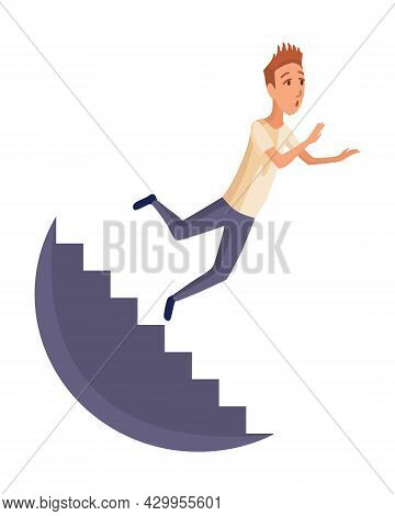 Falling Man. Falling Down People Because Fall Of Stairs, Accident. Young Men Dangerous Accident. Dan