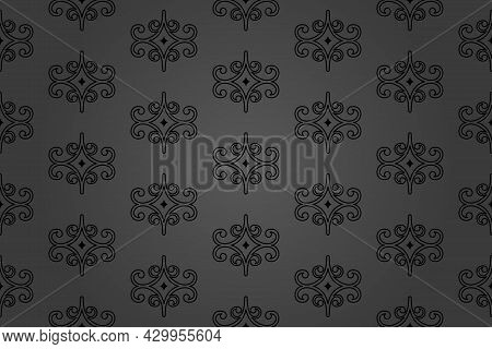 Classic Seamless Vector Pattern. Damask Orient Ornament. Classic Vintage Dark Background. Orient Orn