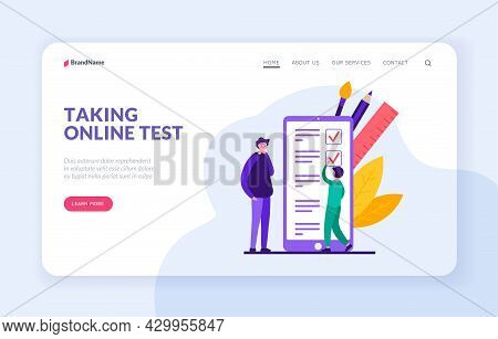Passing Online Testing. Digital Subject Proficiency Test And Social Survey On Website. Application F