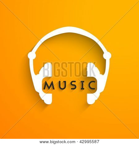 poster of Abstract headphone background, flyer, poster or banner with text Music.