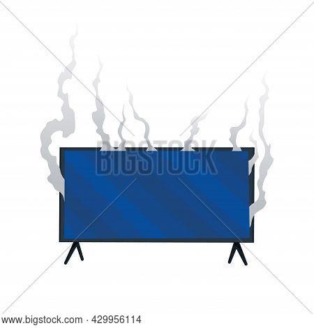 Broken Home Appliances. Damaged Monitor. Domestic Icon Isolated On White. Burning Electronics. Homea