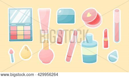 Cosmetic Accessories Sticker. Glamorous Red Lipstick And Tonal Cream Tubes. Colored Eye Shadow With