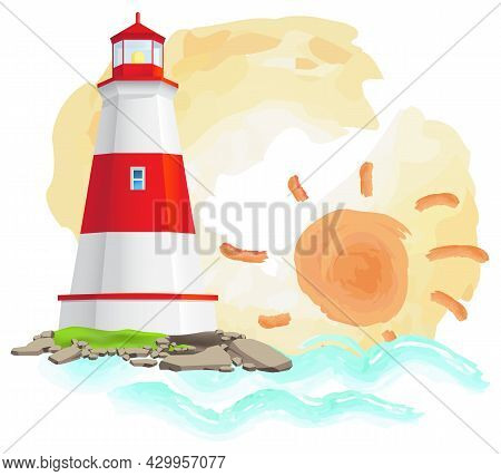 Sea Adventure Banner With Big Red And White Lighthouse Standing On Stones. Large Construction Of Wat