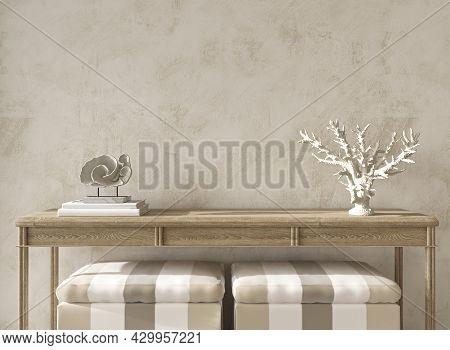 Coastal Design Room. Mockup Beige Stucco Wall In Cozy Home Interior Background. Hampton Style 3d Ren