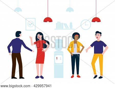 Teamwork Of Colleagues Near The Watercooler Happy Men And Woman Talking And Working Vector Character