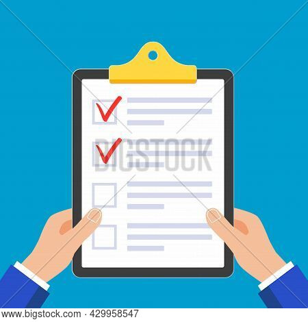Hands Holding Clipboard With Check List Claim Form On It, Paper Sheets, Check Marks Tick Ok X In The