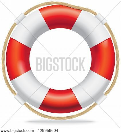 Lifebuoy Red And White Life Ring With Rope. Device For Rescuing Drowning Sailor. Remedy For People W