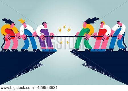 Business Contest, Rivalry, Challenge Concept. Group Of People Cartoon Characters Workers Making Riva