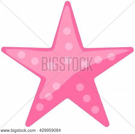Pink Starfish On White Background. Cartoon Nautical Character Lives In Ocean. Underwater Life Of Car