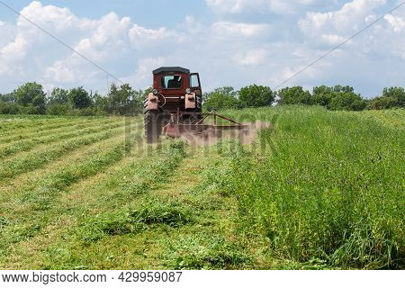 Mowing Of Hay With A Small Tractor With Rotary Mower On A Hayfield At Summer Day