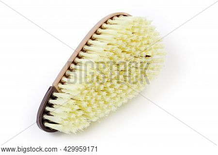 Assembled Compound Clothes Brush With Brown Plastic Handle And Plastic Bristles, View From The Brist