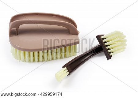 Composite Clothes Brush Consisting Of Three Different Brushes With Plastic Handles Disassembled Into