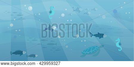Underwater Ocean Fauna With Fishes, Seaweed, Sea Horses, Mantas, Turtles. Ocean Bottom With Marine L