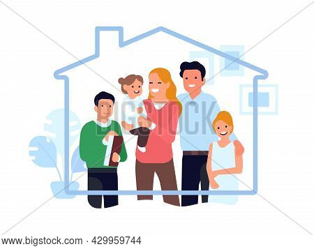 Stay At Home Family. Indoor Virus Protection, Family Is Safe Under Roof House, Happy Parents And Chi