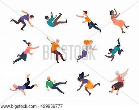 Falling People. Stumbling And Slipped Women And Men Different Poses, Dangerous Traumatic Situations,