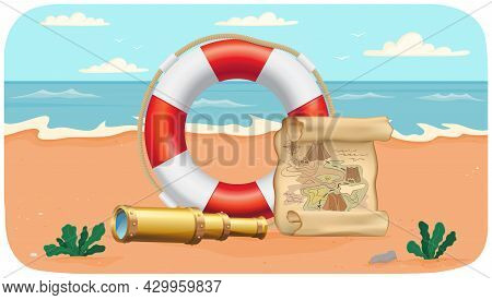 Fascinating Sea Adventures And Travel Poster. Marine Cruise And Nautical Travelling Advertising Plac