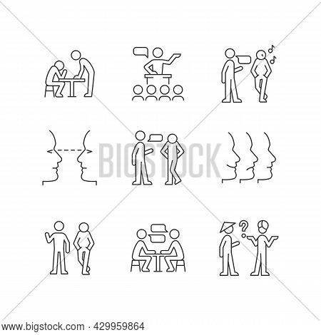 Communication Process Linear Icons Set. Physical Behavior. Public Speech. Eye Contact. Nonverbal Sig