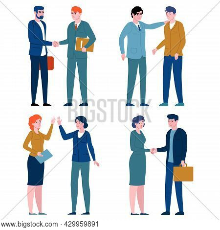 Business Greeting People. Office Employees Greet With Gestures, Corporate Colleagues Shake Hands, Gi